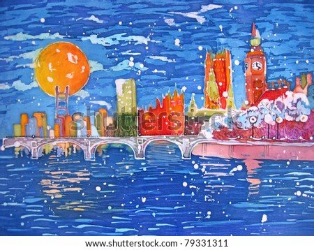 London bridge and Big Ben. Parliament. Original painting. Batik. - stock photo