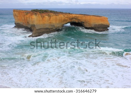 London bridge at the Twelve Apostles along the great ocean road in Victoria, Australia - stock photo