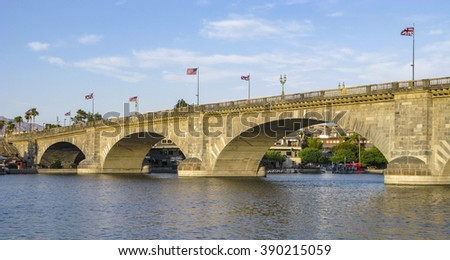 London Bridge in Lake Havasu, old historic bridge rebuilt with original stones in America - stock photo