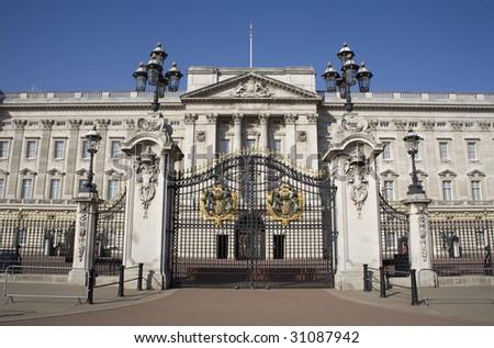 London - Buckingham palace and gate - stock photo
