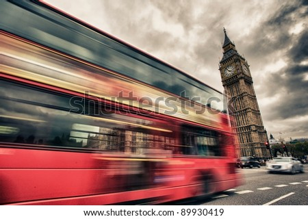 london bus abstract hrd - stock photo