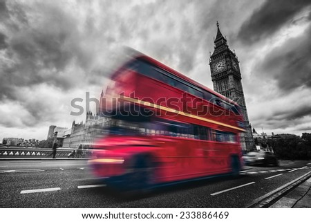 London bus desaturate - stock photo
