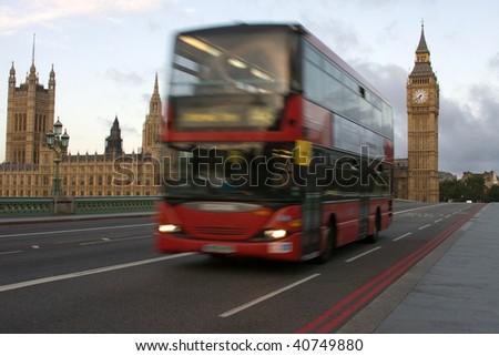 London Bus on Westminster bridge - stock photo