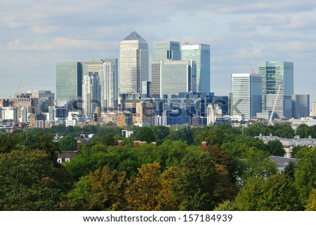 London Canary Wharf skyline from Greenwich Park