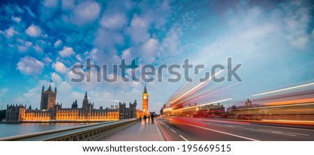 London. Car light trails on a summer evening in Westminster Bridge. - stock photo