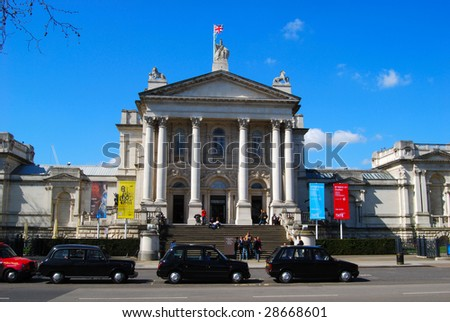 LONDON – CIRCA APRIL 2009 : Visitors mingle at Tate Britain circa April 2009 in London. Tate Britain located in Millbank is the national gallery of British art from 1500 to the present day. - stock photo