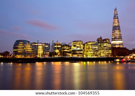 London City Hall Skylines along River Thames at Dusk, England UK - stock photo