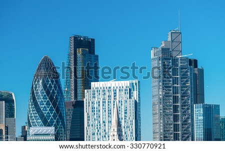 London City skyline, UK - stock photo
