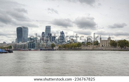 London City Skyline with London Tower at River Thames, HDR image, United Kingdom - stock photo