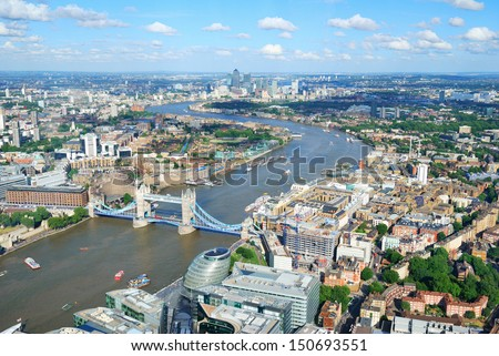 London City Streets and River Thames from above - stock photo