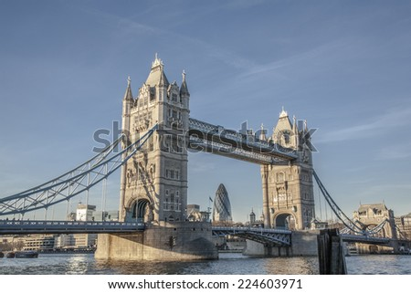 London City: Tower Bridge and downtown - stock photo