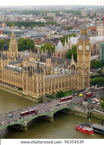 London city view from the sky. Big Ben, House of Parliament, Thames river, and Westminster Bridge.