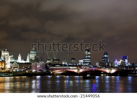 London cityscape by night - stock photo
