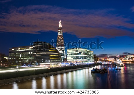 London Cityscape, including City Hall from Tower Bridge, London UK - stock photo