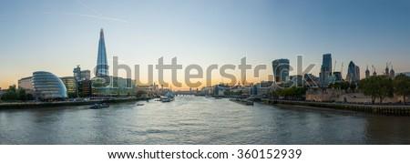 London Cityscape, seen from Tower Bridge - stock photo