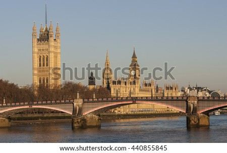 London cityscape showing Big Ben and Westminster - stock photo