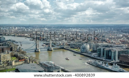 London Cityscape Skyline. River Thames Landmarks View - stock photo