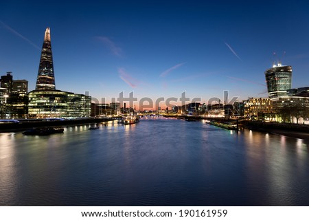 London Cityscape with City Hall and The Shard - stock photo