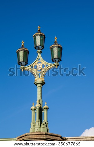 LONDON - DEC 9 : Old Fashioned Lamp in London on Dec 9, 2015
