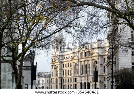 LONDON - DEC 20 : Old War Office Building in Horse Guards Avenue in London on Dec 20, 2015