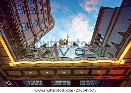 LONDON - DEC 14: Outside view of Savoy hotel pictured on December 14th, 2014, in London. It is Britain's first luxury hotel in central London, opened in 1889. - stock photo