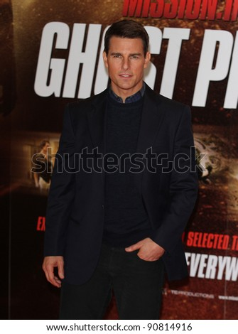 LONDON - DECEMBER 14: Tom Cruise attends the Mission: Impossible Ghost Protocol - UK film premiere at the BFI IMAX cinema on Dec. 14, 2011 in London, England. - stock photo