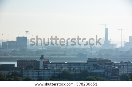 London early morning view with building constructing sites and cranes - stock photo