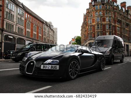 London, England   25.06.17: A Unique Bugatti Veyron Super Sport Sang Noir