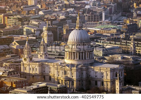 London, England - Aerial view of the famous St.Paul's Cathedral of London at sunset - stock photo