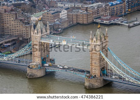 London, England - Aerial view of the world famous Tower Bridge