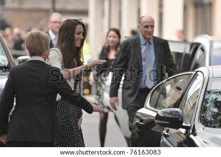 LONDON, ENGLAND - APRIL 28: Kate Middleton arrives at the Goring Hotel on the evening before her wedding to Prince William on April 28, 2011 in London England. - stock photo