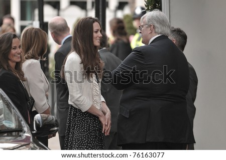 LONDON, ENGLAND - APRIL 28: Kate Middleton (C) arrives with family members at the Goring Hotel on the evening before her wedding to Prince William on April 28, 2011 in London England. - stock photo