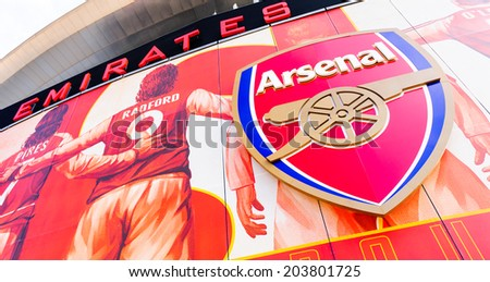 LONDON, ENGLAND - APRIL 22ND: Front facia of The Emirates Stadium, Arsenal Football Club. Hornsey Rd, London, N7 7AJ. England. 22ND April 2010.