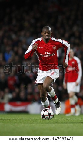 LONDON, ENGLAND. 31/03/2010. Arsenal player Abou Diaby in action during the  UEFA Champions League quarter-final between Arsenal and Barcelona at the Emirates Stadium - stock photo