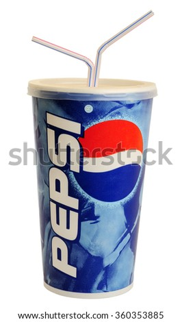 London, England - August 11, 2009: Cup of Pepsi Cola with Straws, The Pepsi Brand is owned by PepsiCo Inc.