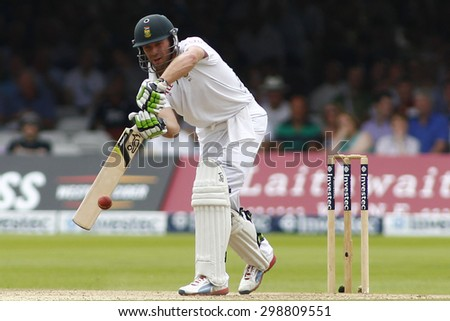 LONDON, ENGLAND. AUGUST 19 2012 South Africa's AB de Villiers during the third Investec cricket  test match between England and South Africa, at Lords Cricket Ground - stock photo