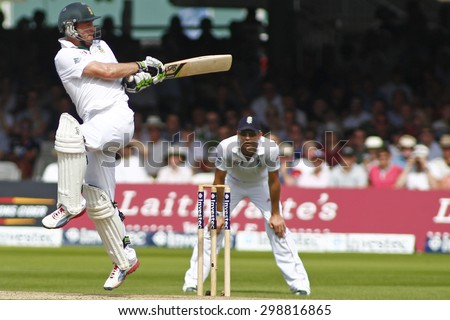 LONDON, ENGLAND. AUGUST 19 2012 South Africa's Jacques Rudolph during the third Investec cricket  test match between England and South Africa, at Lords Cricket Ground - stock photo
