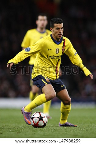 LONDON, ENGLAND. 31/03/2010. Barcelona player Pedro Rodriguez in action during the UEFA Champions League quarter-final between Arsenal and Barcelona at the Emirates Stadium - stock photo