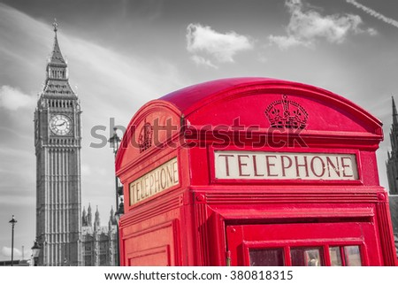 London, England - Classic British red telephone box with Big Ben on a sunny day -black and white version - UK - stock photo