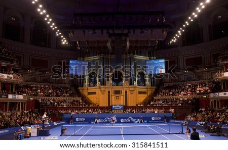 LONDON, ENGLAND. 05 DECEMBER 2009 -    a general view of the preliminary match in the season finale to the ATP Champions Tour match during the AEGON Masters Tennis, Royal Albert Hall, London. - stock photo