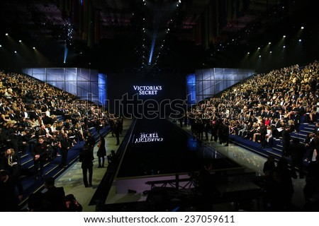 LONDON, ENGLAND - DECEMBER 02: Guests attend the 2014 Victoria's Secret Fashion Show Front Row & Pre-Cocktail Reception at Earl's Court exhibition centre on December 2, 2014 in London, England. - stock photo