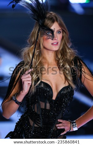 LONDON, ENGLAND - DECEMBER 02: Victoria's Secret model Constance Jablonski walks the runway during the 2014 Victoria's Secret Fashion Show on December 2, 2014 in London, England. - stock photo