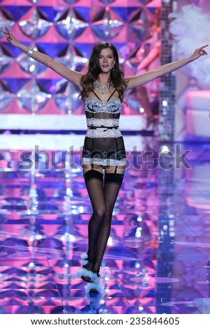 LONDON, ENGLAND - DECEMBER 02: Victoria's Secret model Kasia Struss walks the runway during the 2014 Victoria's Secret Fashion Show on December 2, 2014 in London, England.