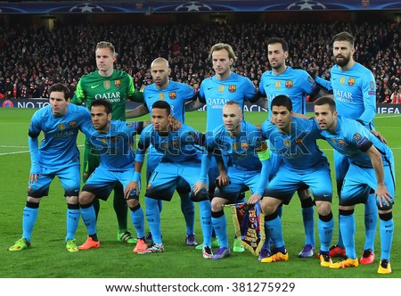 LONDON, ENGLAND - FEBRUARY 23:  Barcelona team line up before the Champions League match between Arsenal and Barcelona at The Emirates Stadium  - stock photo