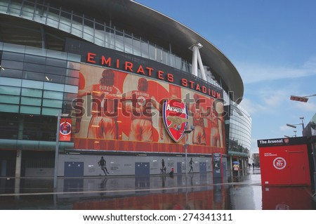 LONDON, ENGLAND - FEBRUARY 14: Emirates stadium as seen from the outside on February 14, 2014 in London, England. The Emirates stadium is home of Arsenal Football Club. Horizontal orientation.