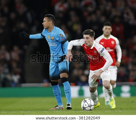 LONDON, ENGLAND - FEBRUARY 23: Neymar of Barcelona and Hector Bellerin of Arsenal during the Champions League match between Arsenal and Barcelona at The Emirates Stadium  - stock photo
