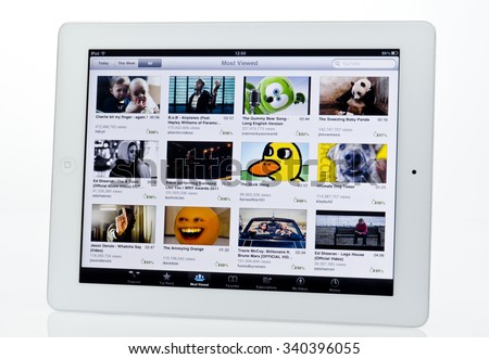 London, England - January 10, 2013: Apple Ipad showing Youtube video sharing website, Created in 2005. - stock photo