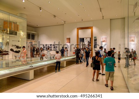 LONDON, ENGLAND - JUL 24, 2016: Interior of the British Museum, Bloomsbury area, London. It was established in 1753