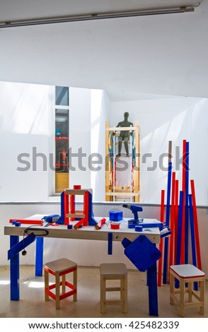 London, England - July 3, 2008: A design exhibition in the Royal College of Art in South Kensington