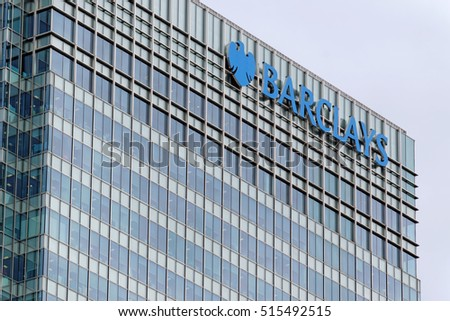 LONDON, ENGLAND - JULY 7, 2016: Barclays Head Quarter, Canary Wharf, London, UK. Barclays - British multinational banking and financial services company - fourth-largest of any bank worldwide.
